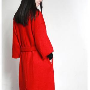 Best-Selling Drawstring Waist Red Overcoat Womans Designer Tweed Coat