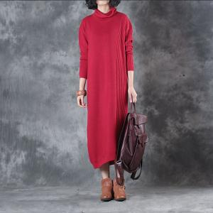 Winter 2018 Oversized Sweater Dress Basic Long Sleeve Red Dress