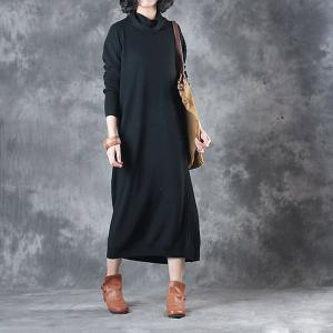 Casual Style Loose Turtleneck Sweater Comfortable Winter Basic Dress