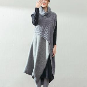 Wool Splicing Turtleneck Knitwear Special Design Two-Pieces Dress