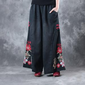 Chinese Buttons Vintage Rose Embroidered Jeans Womans Black Baggy Jeans