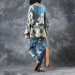 High-Quality Blue Flowers Short Sweater Coat With Knitted Wool Pants