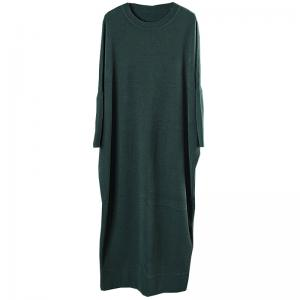 Simple Fashion Loose Sweater Dress Crew Neck Woolen Green Dress