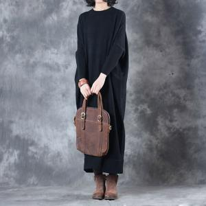 Classic Style Long Sleeve Black Dress Womans Oversized Sweater Dress
