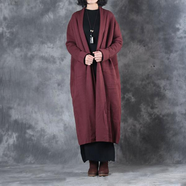 High-Quality Pleated Vintage Overcoat Long Sleeve Decent Oversized Cardigan
