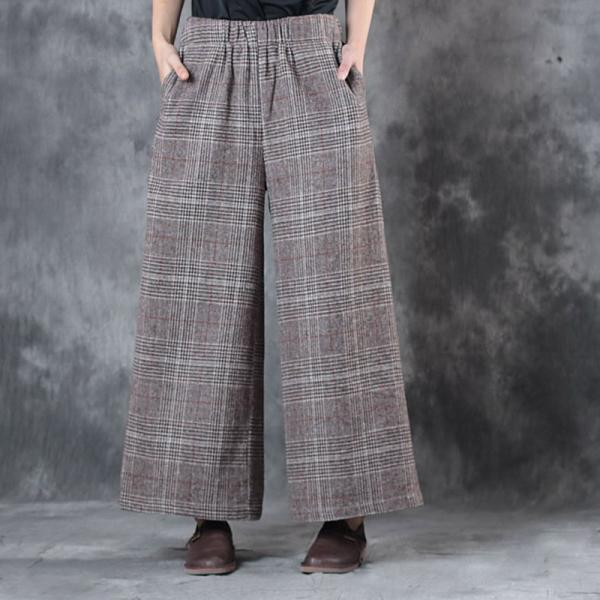 British Style Vintage Plaid Pants Womans Wool Wide Leg Trousers