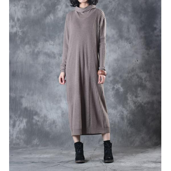 Simple Design Turtleneck Casual Dress Winter Basic Khaki Dress