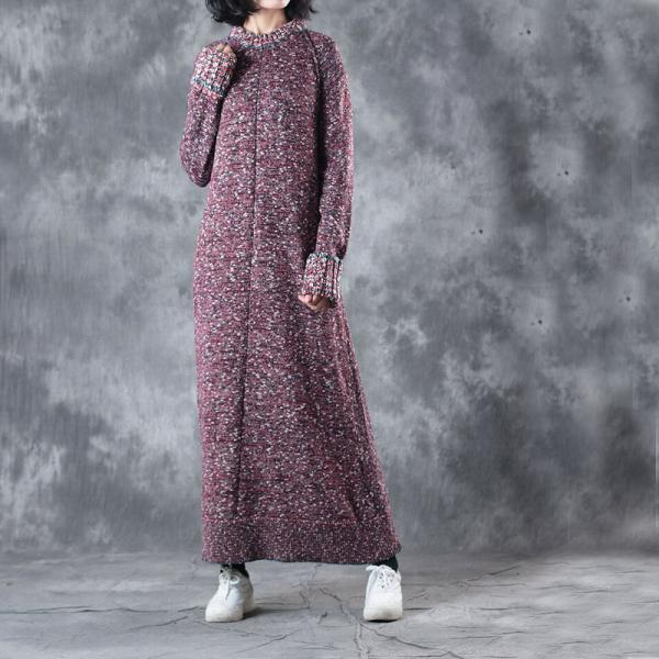 High-Quality Slim-Fit Casual Maxi Dress Cotton Knitting Sweater Dress