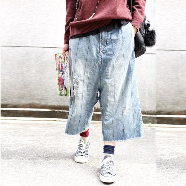 Vintage Style Washed Denim Baggy Jeans Womans Stripes Ripped Jeans