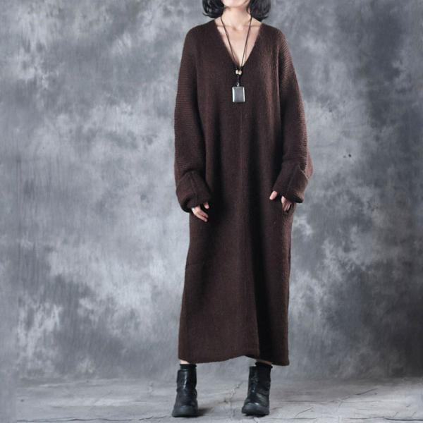 High-Quality Deep-V Oversized Sweater Dress Mohair Soft Coffee Dress