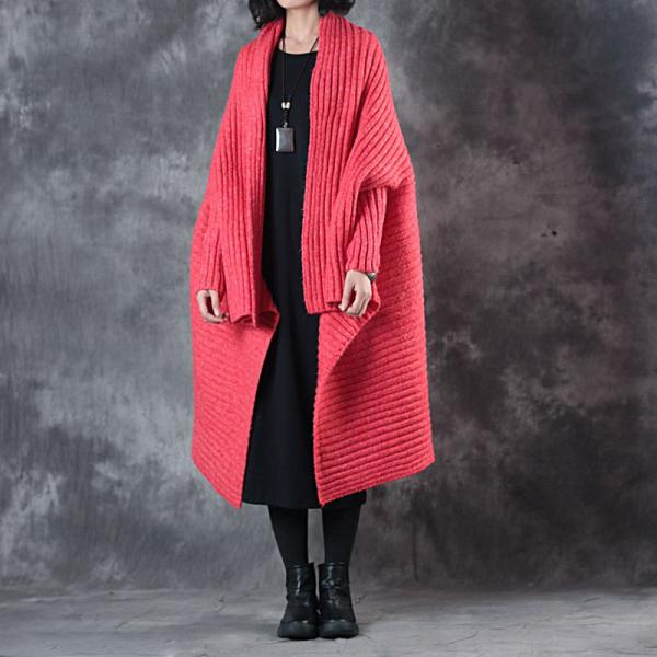 Street Style Plus Size Christmas Cloak Coat Red Oversized Sweater Cardigan