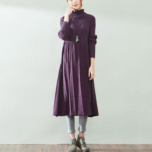 High-Quality Cotton Knitting Purple Dress Pleated Turtleneck Sweater Dress