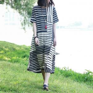 New Arrival Contrast Striped Linen Dress Oversized T-shirt Dress