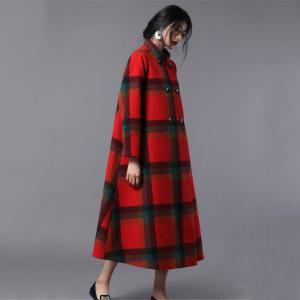 High-End Stand Collar Plaid Coat Woolen Plus Size Tweed Coat