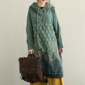 Ethnic Prints Cotton Casual Long Hoodie Plus Size Hooded Dress