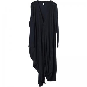New Arrival Plus Size Black Cardigan Draped Flare Overcoat