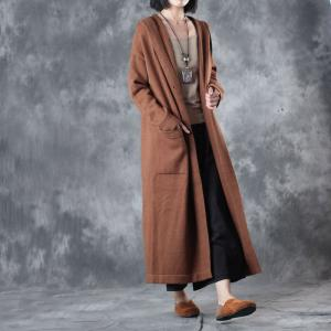 Classical Style Double-Breasted Camel Coat Womans Hooded Winter Coat