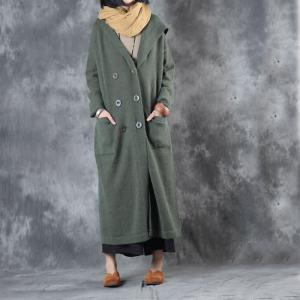 Ladylike Loose Green Coat Front Pockets Hooded Overcoat