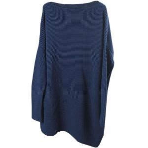 Best-Selling Asymmetrical Blue Knitwear Plus Size Tunics With Scarf