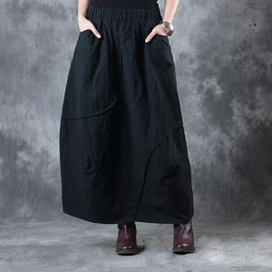 Latest Fashion Cotton Linen Maxi Skirt Loose Quilted Black Skirt
