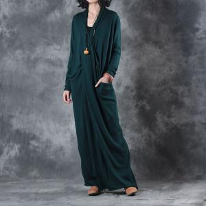 Ladylike Long Sleeve Blackish Green Dress Front Cross Loose Knit Dress