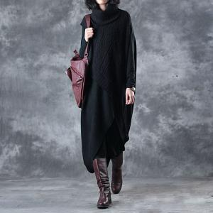 Asymmetrical Wool Turtleneck Dress Knit Black Two-Pieces Outfits