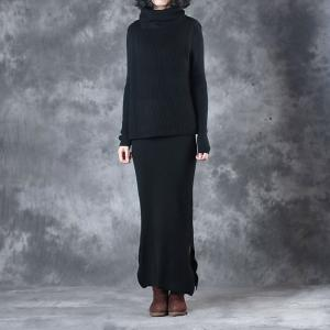New Arrival Hem Slit Skinny Dress With Black Sleeveless Turtleneck Sweater