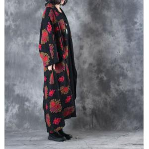 High-End Bat Sleeve  Designer Wool Coat Flocking Vintage Red Coat