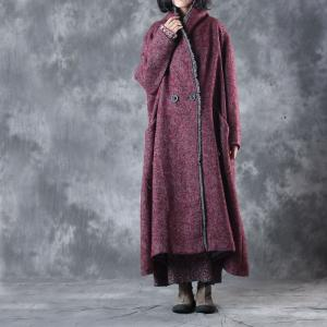 Vintage Style Wide Leg Fringed Tweed Coat Plus Size Red Overcoat