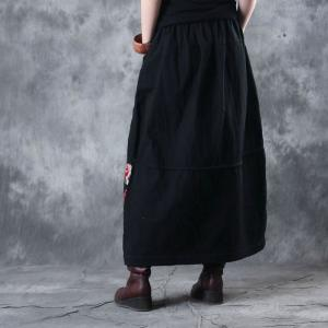 Classical Rose Prints Flare Maxi Skirt Quilted Cotton Linen Black Skirt