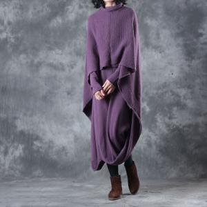 Individual Layering Cloak Dress Loose Cotton Purple Dress