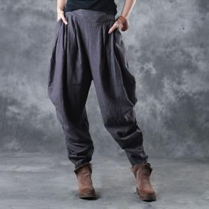 Simple Design Linen Gray Trousers Holidays Balloon Pants