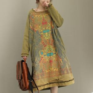 New Arrival Hem Slit Totem Dress Thickening Cotton Casual Dress