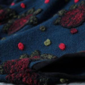 High-End Flowers Flocking Blue Coat Plus Size Wool Vintage Overcoat