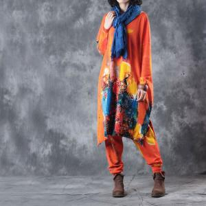 Colorful Oil Painting Woman Suits Long Sleeve Knitting Top With Casual Pants