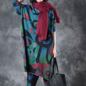 Abstract Printing Crew Neck Plus Size Knitwear Hem Slit Blue Pullover
