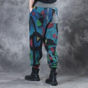 Winter Fashion Cotton Linen Bootcuts Artistic Prints Womans Loose Pants