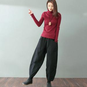 Over 50 Style Quilted Black Pants Cotton Linen Loose Bootcuts