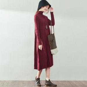 New Arrival Cotton Casual Dress Turtleneck Ruffles Oversized Sweater Dress