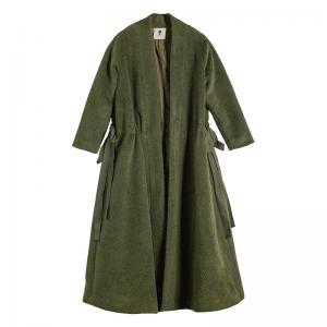 High-End Silk Ribbon Belted Woolen Coat Plus Size Designer Green Overcoat