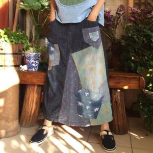 Girlish Floral Embroidery Maxi Skirt Patchwork Beautiful Denim Skirt