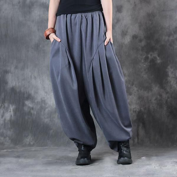 Winter Fashion Thickening Gray Pants Womans Baggy Trousers