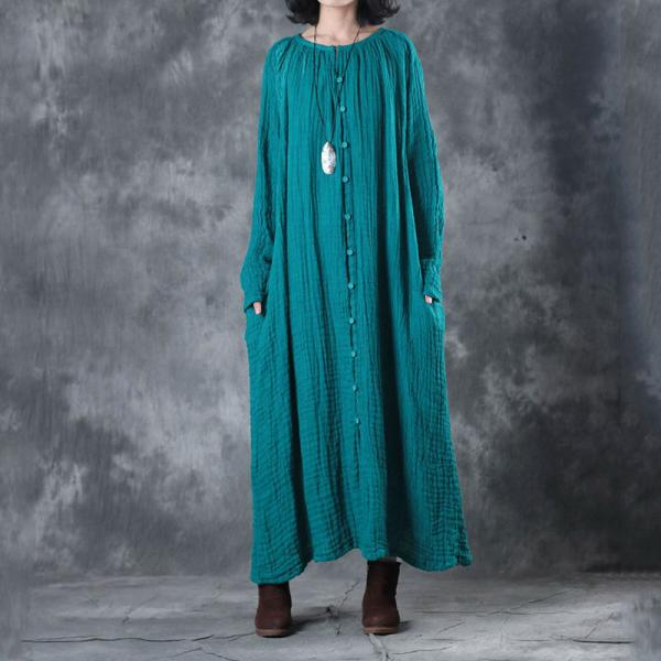 New Arrival Creased Linen Dress Shoulder Embroidery Plus Size Kaftan Dress