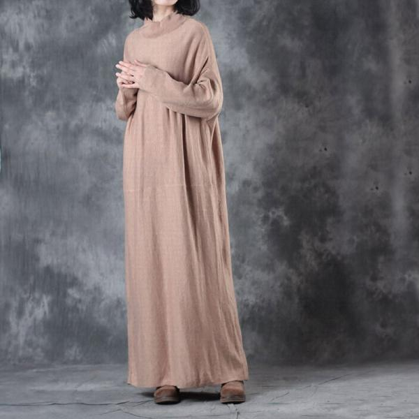 Beautiful Mock Neck Knits Dress Loose Light Khaki Maxi Dress