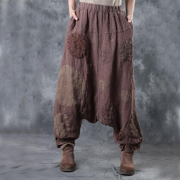 Special Design Patchwork Harem Pants Loose Linen Trousers