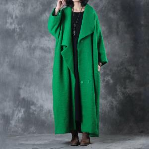 Wide Lapel Belted Wool Green Coat Plus Size Winter Christmas Coat