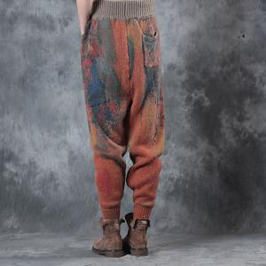 Vintage Style Woolen  Loose Pants Orange Thickening Winter Trousers