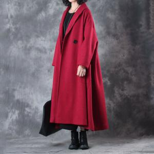 High-End Big Pockets Woolen Red Coat Christmas Plus Size Winter Coat