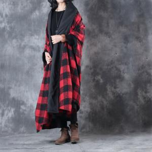 British Style Asymmetrical Loose Shawl Coat Vintage Plaid Outerwear