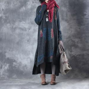 Hot-Selling Fish Prints Oversized Sweater Dress Woolen Dark Gray Dress